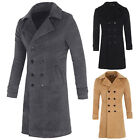 New Korean Mens Slim Fit Double Breasted Wool Blends Trench Coat Plus Size S~XL