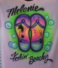 AIRBRUSH FLIP FLOP BEACH AIRBRUSHED PERSONALIZED T SHIRT YOUTH AND ADULT SIZES
