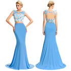 New Formal Long Evening Gown Party Prom Bridal Dress Mermaid Applies Maxi 2Piece