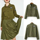 Retro Washed Military Green Butterfly Patch Frayed Destroyed Short Jacket Top