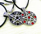 Newest Men Pentagram Pentacle Star Round crystal Pendant Leather Cord Necklace