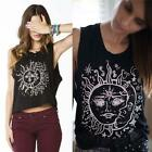 Women's Sleeveless Sunray Print Round Neck Casual Vest Top T-Shirt Black LJ