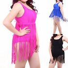 One Piece Women Fuchsia Black Blue Tassel Fringe Plus Size Swimsuit Swimwear