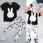 2pcs Newborn Baby Boys Cute Bunny Outfit Tops T-shirt + Pants Clothes Set 0-36M