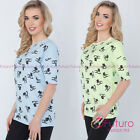 Womens Casual Top Cats Print Short Sleeve Lounge Cotton T-Shirt Size 8-12 FT2720