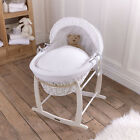 Clair de Lune Soft Waffle White Wicker Moses Basket
