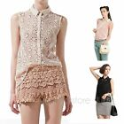 Women Summer Lapel Floral Lace Chiffon Sleeveless T Shirt Blouse Vest Tank Shirt