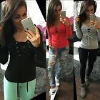 Sexy Women's Casual Blouse Long Sleeve Deep V Neck Bandage Casual Tops T Shirt