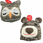 Childrens Knitted Animal Beanie Hat & Ears Boys Girls Warm Winter Bear Ski Hat