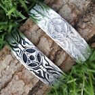 FEATHER Hawaiian Tribal SOLAR CROSS Silver Pewter Bangle Bracelet Wrist Cuff