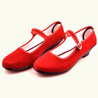 Vintage Women's Casual Chinese Mary Jane Cotton Shoes Slippers in Black Red K