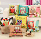 Vintage Cotton Linen Cute Owl Sofa Cushion Cover Throw Pillow Cases Home Decor