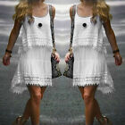 Women White Loose Irregular Lace Mini Short Dress Party Cocktail Beach Sundress