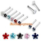 1x Punk Stainless Steel 20g 3mm Star Clear CZ Gem Nose Bone Ring Stud Piercing