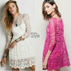 Fashion Women Sexy 3/4 Sleeve Back Slit Crochet Flower Lace See-through TXST