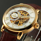 New Skeleton Roman Dial Hand-winding Mechanical Leather Casual Mens Wrist Watch