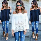 Long Sleeve Chiffon Slash Neck Casual T-Shirt Women Summer Bandage Boho Sexy K