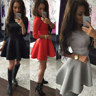 GK Women's Girls 3/4 Sleeve Evening Party Mini Skater Dress Skirt New Bodycon