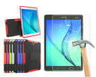 Rugged Stand Shockproof Hybrid Case Cover Tempered Glass Film For Samsung Tab A