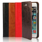 Luxury Genuine Cowhdie Leather Stand Book Folio Wallet Hard Case Cover For Phone