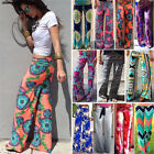 Fashion Womens Floral Casual High Waist Wide Leg Long Pants Palazzo Trousers New