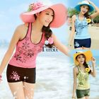 2PCS Summer Women Print Tank Tops Shorts Tankini Swimwear Swimsuit Bikini Set