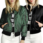 Ladies New Style Bomber Jacket Women Vintage Zip Up Biker Coat Tops Size S-XL
