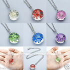 Elegant Women Jewelry Resin Dyeing Dried Floral Cluster Pendant Chain Necklace
