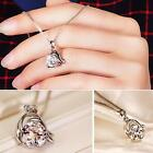 Womens Silver Chain Crystal Rhinestone Pendant Necklace Vintage Jewelry PHNG