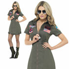 Ladies Deluxe Top Gun Fancy Dress Costume Aviator Pilot Womens Outfit New