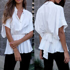 Women Sexy Tied Wiast White Short Batwing Sleeve Blouse Shirt Fashion T-shirts K