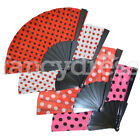 Spanish Flamenco Long Spotty Fan Book Dance Fancy Dress Pink White Red Black NEW