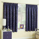 Navy Blue Stars Thermal Blockout Tape Top Curtains For Kids Children's Bedroom
