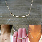 Silver/Gold Simple Dainty Curved Hollow Tube Bar Necklace