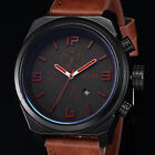3 Colours Daily Water Resistance 12Hour Date Leather Band Mens Sport Wrist Watch