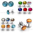 12x 8mm Earth Star 16G Steel Fake Cheater Barbell Illusion Plug Ear Stud Earring