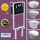 Concealed Wall Hung Toilet WC Adjustable Frame + Cistern, Pan, Flush Plate