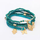 Exquisite Female Hamsa Fatima Hand Butterfly Multilayer Bangle Beads Bracelet QN
