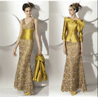Glod Lace Mother of Bride Outfits with Jacket Long Formal Women Dresses Custom