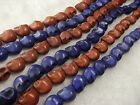 10x12MM Beautiful Brown / Blue Turquoise Skull Loose Beads Gemstone 16""