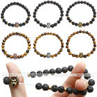 8mm Lava Agate Tiger Eye Gems Crown Lion Spacer Beads Elastic Bracelet Wristband