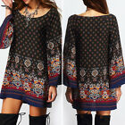 Womens Vintage Floral Long Sleeve Boho Casual Dress Mini Beach Party Dresses