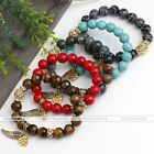 Natural Gemstone Wings Heart Charms Crystal Beads Bangle Bracelet Women Jewelry