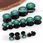 Pair 4-14mm Acrylic Butterfly Skull Screw Flared Ear Tunnel Plugs Expander Punk