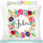 ❤PERSONALISED FLORAL WREATH CUSHION ADD ANY NAME BIRTHDAY WEDDING CHRISTMAS GIFT