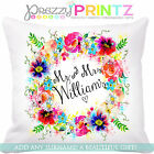 ❤PERSONALISED FLORAL WREATH CUSHION MR & MRS WEDDING VALENTINES ANNIVERSARY GIFT