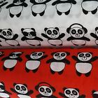 Panda Polycotton Fabric: Children's Red White Animal Kids Black Material