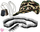 ARMY CAP BULLET BELT AND DOG TAG NECKLACE MILITARY SOLDIER FANCY DRESS CAMO