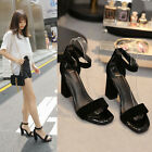 Brand New Women Fashion Faux Leather Black Block Heel Sandals Ankle Strap Shoes