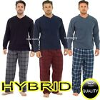 Mens Fleece Pyjamas Set Thermal Warm Long Check Bottoms Pjs Lounge Pajamas HT735